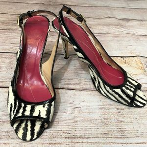 Kate Spade Patent Leather Zebra Slingback Shoes